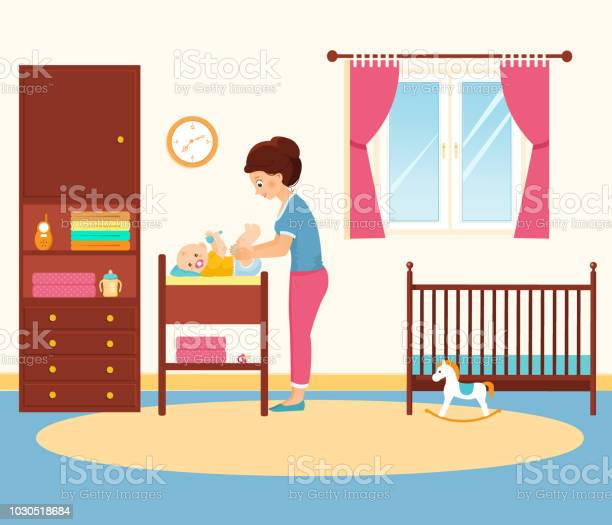Mother changing diaper in baby room vector id1030518684?b=1&k=6&m=1030518684&s=612x612&h=fktubpxf qyubpnyjxrf2scezx1julcw1weigvxvf g=