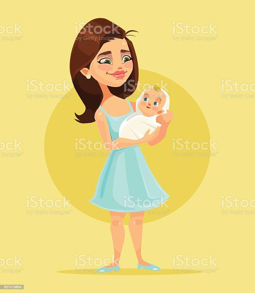Mother character holds little child on hands vector art illustration