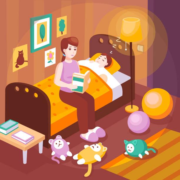 bildbanksillustrationer, clip art samt tecknat material och ikoner med mamma barn sova läsa bok illustration - cosy pillows mother child