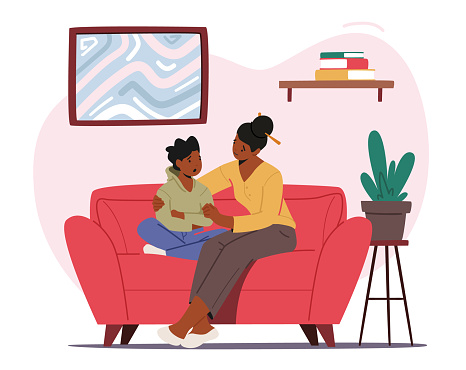Mother Comforting Child Sitting on Sofa in Living Room. Mom and Son Talking of Problems, Parent Support and Embrace Boy
