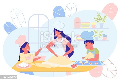 Mother Cooking Together with Children in Kitchen Flat Cartoon Vector Illustration. Daughter and Son Helping Mom, Girl Mixing in Bowl, Boy Forming Cookies. Woman Knead Dough. Kitchen Interior.