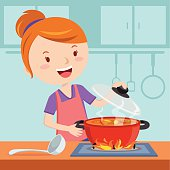 Vector illustration of a woman cooking in the kitchen.