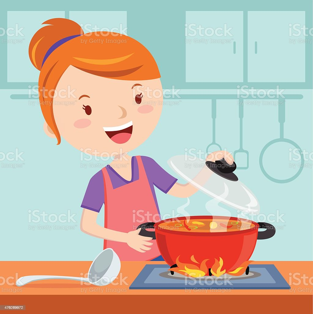Mother cooking vector art illustration