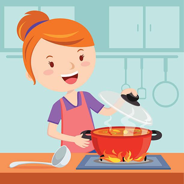 ilustrações de stock, clip art, desenhos animados e ícones de mãe cozinhar - cooker happy