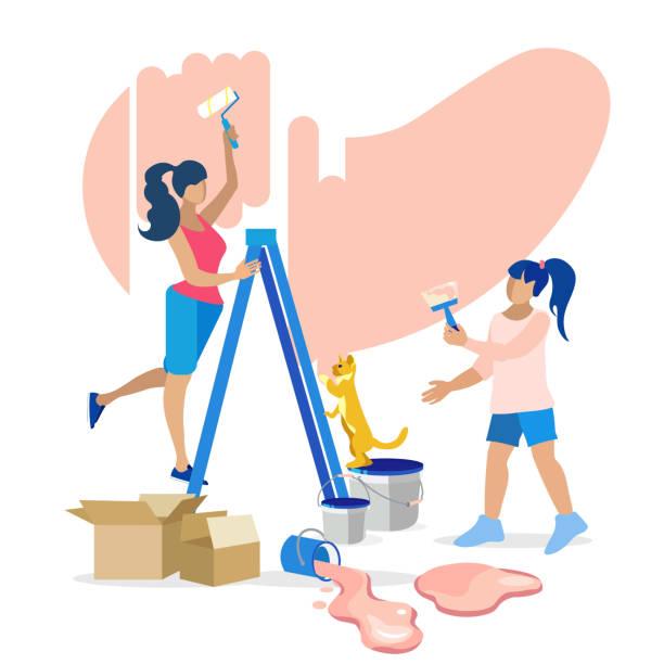 bildbanksillustrationer, clip art samt tecknat material och ikoner med mor, dotter och hem renovering illustration - painting wall