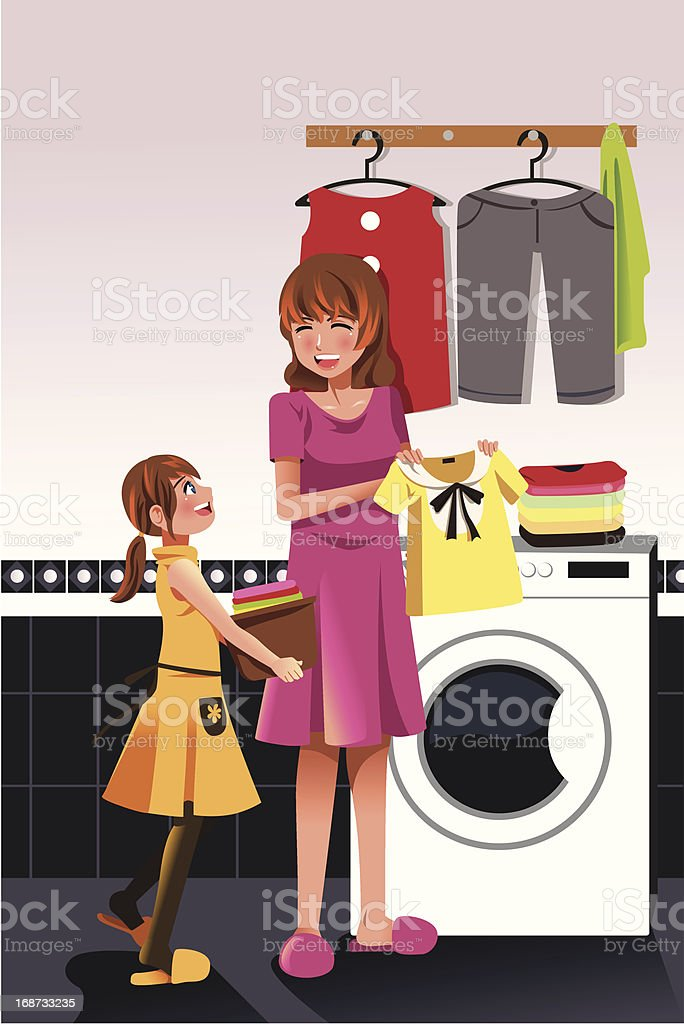 Mother daughter doing  laundry royalty-free stock vector art