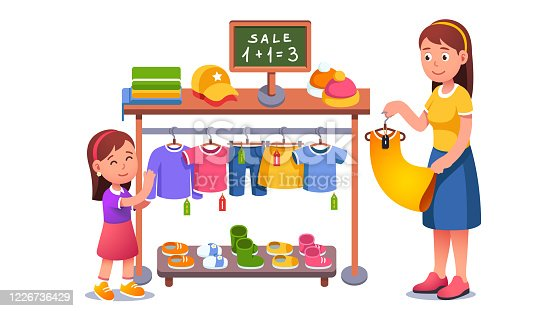 istock Mother & daughter kid choosing clothes on shop hanger rack at sale. Family shopping in clothing store. Mom & child girl cartoon characters buying clothes with discount. Flat vector illustration 1226736429