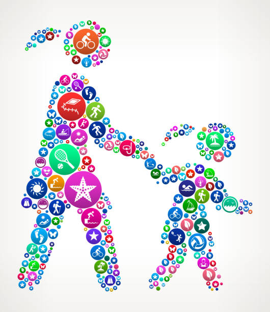 ilustrações de stock, clip art, desenhos animados e ícones de mother & daughter  summer colorful vector icon pattern - mulher natureza flores e piscina