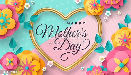 istock Mother day poster paper flowers 1313174583