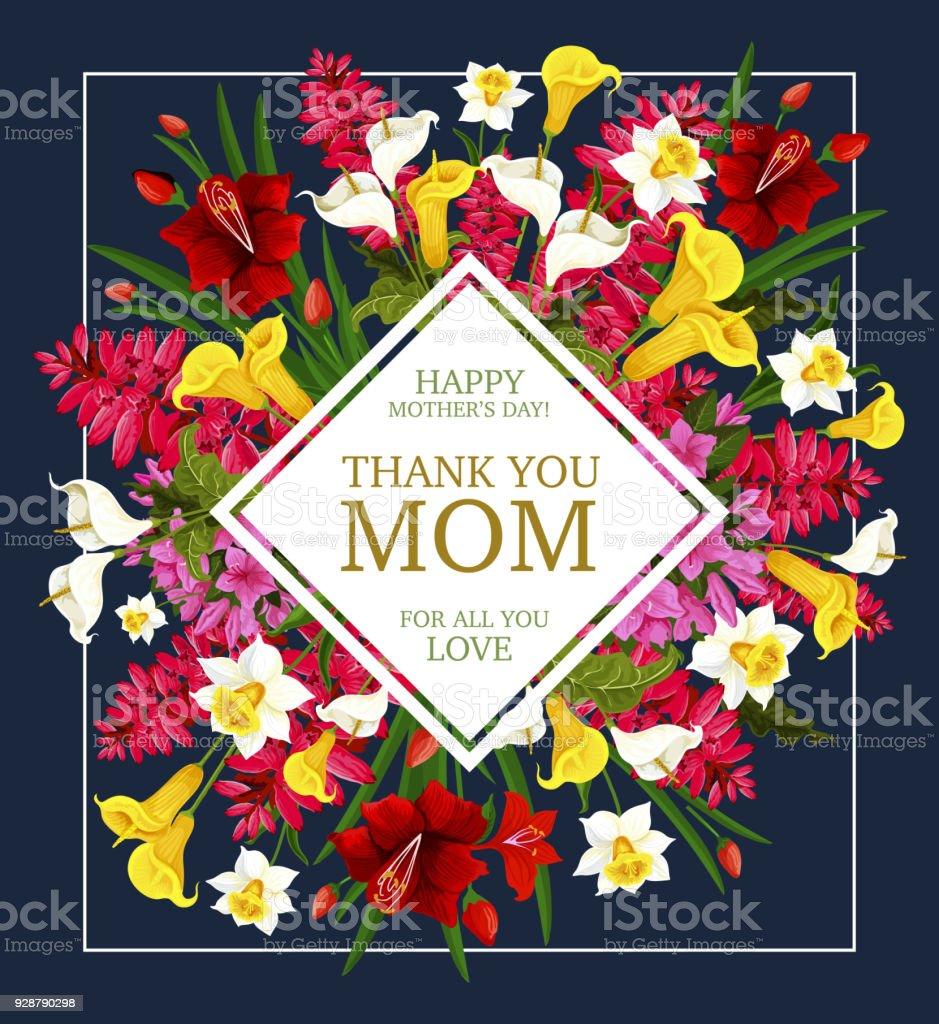 Ilustración de Tarjeta Día De La Madre Gracias Con Marco De Flor De ...