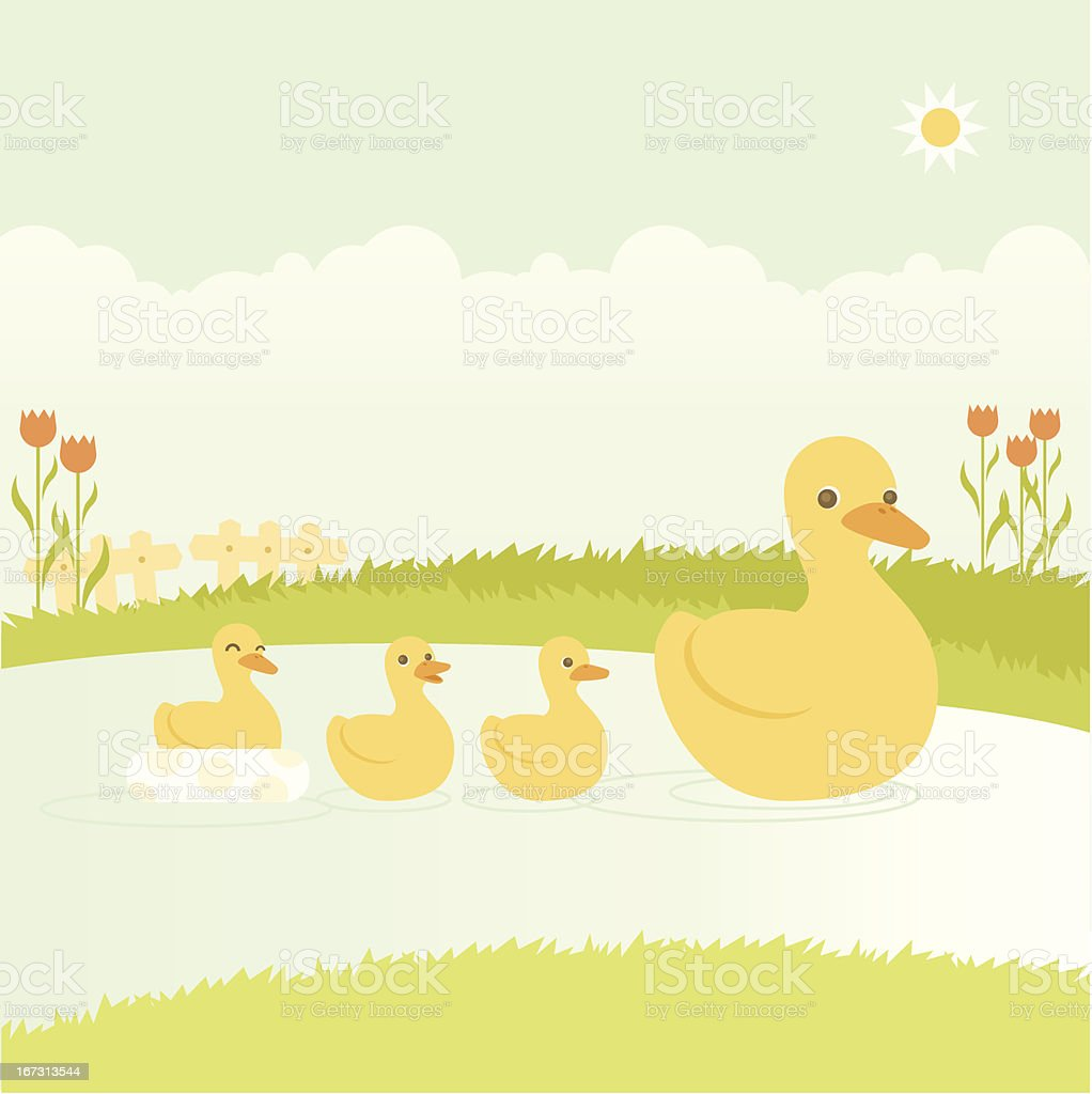 Mother duck swimming with her ducklings vector art illustration