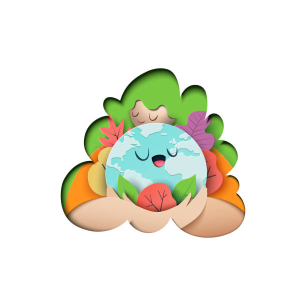 Mother earth day and eco concept paper art style vector art illustration