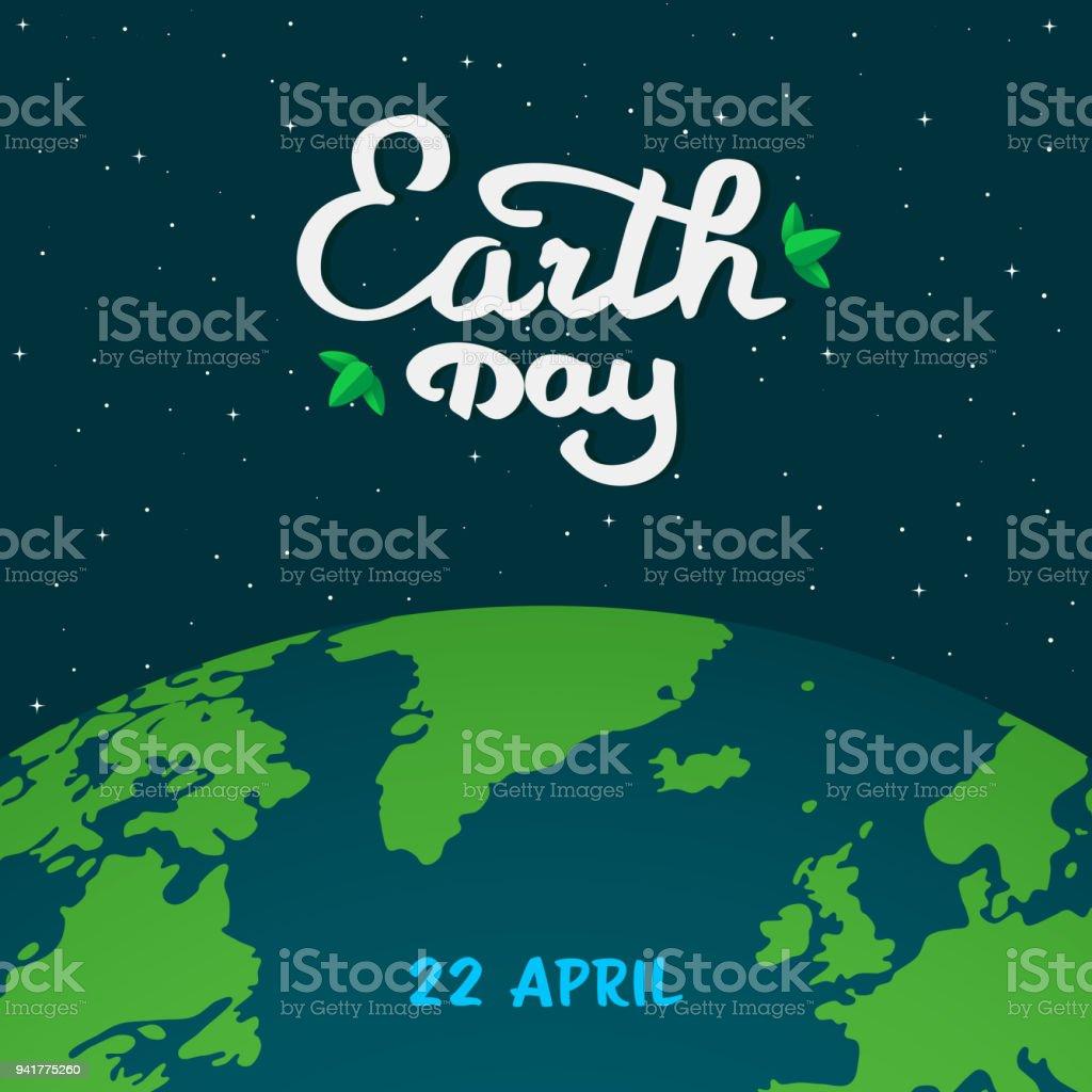 Ilustración de dibujos animados del día de la madre tierra. Planeta tierra en el espacio con la caligrafía, texto escrito a mano con verdes hojas. Fondo espacio plano mínimo oscuro con estrellas y planeta tierra. Ilustración de vector. - ilustración de arte vectorial