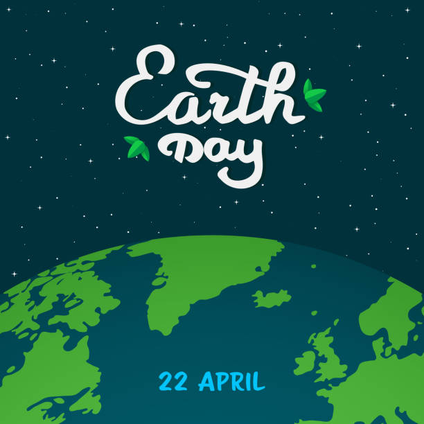 mother earth day cartoon illustration. earth planet in space with calligraphy, handwritten text with green leaves. dark minimal flat space background with stars and earth planet. vector illustration. - earth day stock illustrations