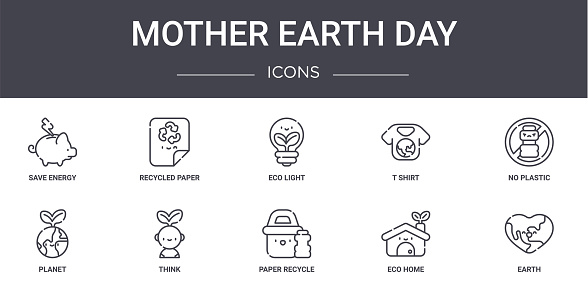 mother earth day concept line icons set. contains icons usable for web, logo, ui/ux such as recycled paper, t shirt, planet, paper recycle, eco home, earth, no plastic, eco light