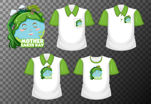 Mother earth day with set of different shirts isolated on transparent background