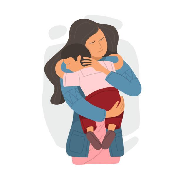 bildbanksillustrationer, clip art samt tecknat material och ikoner med mor omfamnar lille son och uttrycker kärlek och omsorg. - parent talking to child