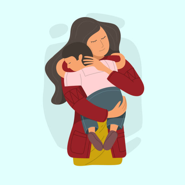 stockillustraties, clipart, cartoons en iconen met moeder die kleine zoon omhelst en liefde en zorg uitdrukt. - adoptie