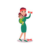 Mother exercising with dumbbells with baby in her arms, super mom concept vector Illustration isolated on a white background