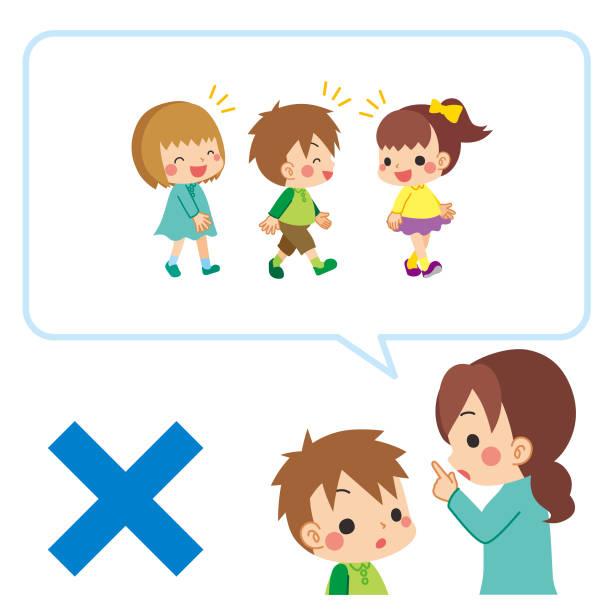 illustrazioni stock, clip art, cartoni animati e icone di tendenza di mother explaining to her child about social distance - two students together asian