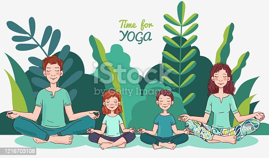 istock Mother, father and and two children doing yoga in lotus position. Family yoga vector illustration. Summer landscape background 1216703108