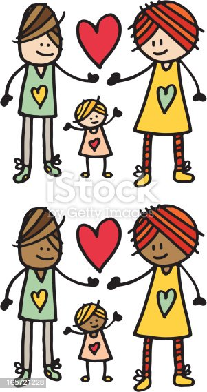istock Mother father and daughter family illustration 165721228