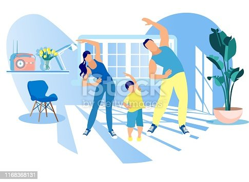 Mother, Father and Kid Morning Exercising at Home