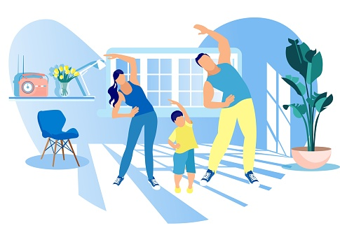 Mother, Father and Kid Morning Exercising at Home clipart