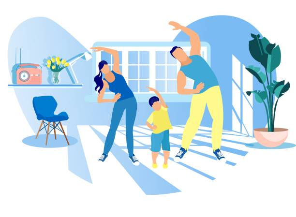 mother, father and kid morning exercising at home - home stock illustrations