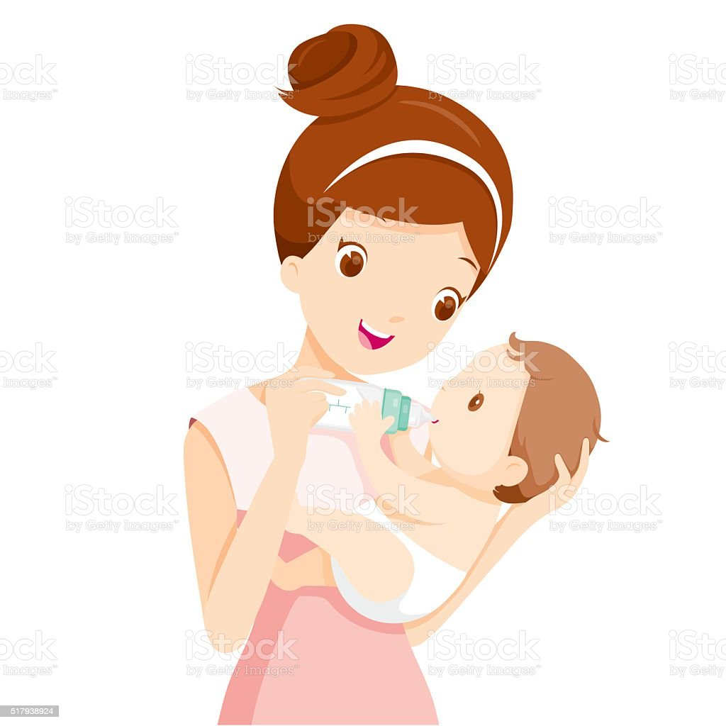 Mother Feeding Baby With Milk In Baby Bottle vector art illustration