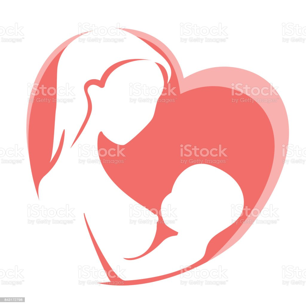 Mother feeding child by breast on background of red heart vector art illustration