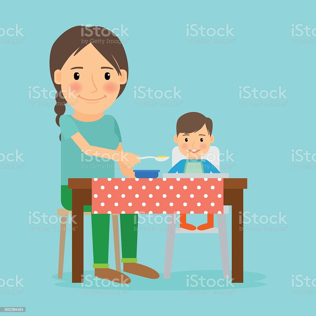 Mother Feeding Her Baby Boy vector art illustration