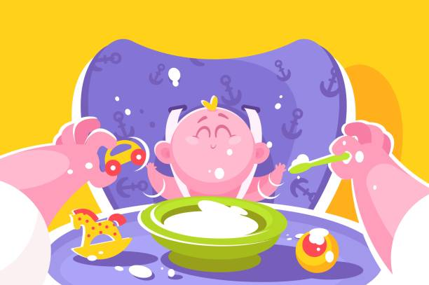 Mother feeding little baby flat poster Mother feeding little baby flat poster vector illustration. Female hands holding spoon and toy car. Child sitting on chair for kids with plate of meals and different playthings. Concept of motherhood hungry child stock illustrations