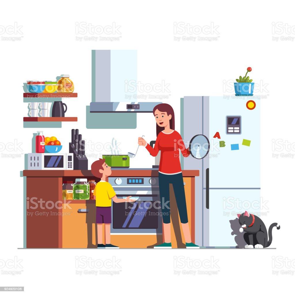 Russische Mutter Sohn Küche