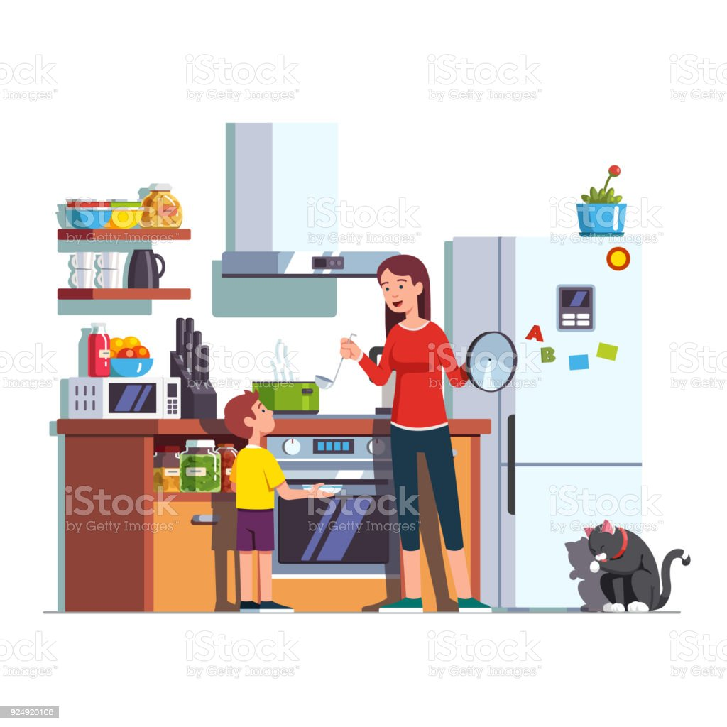 Mère fils alimentation à la cuisine à domicile - Illustration vectorielle