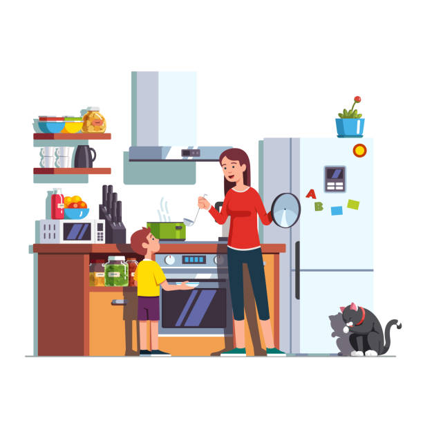 mother feeding son at home kitchen - family dinner stock illustrations