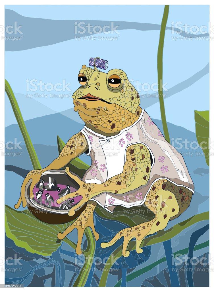 Mother frog vector art illustration