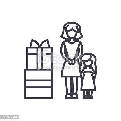 Mother Gift To Daughter Concept Vector Thin Line Icon Symbol Sign