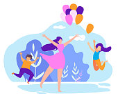 Mother Giving Children Inflatable Balloons Cartoon Flat Vector Illustration. Celebrating Holiday or Birthday in Park. Woman Holding Festive Decorations. Kids Jumping to Catch Balloon.