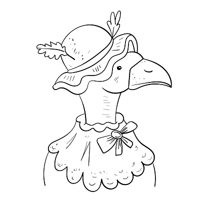 Mother goose Funny cartoon. Vector Coloring page or book, antistress hobby.