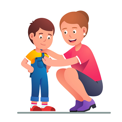 Mother Helping Boy Son To Dress Up Or Change Clothes Parent Button Up Kid  Jumpsuit Parenting Undressing Or Dressing Up Happy Smiling Child Flat  Vector Illustration Stock Illustration - Download Image Now -