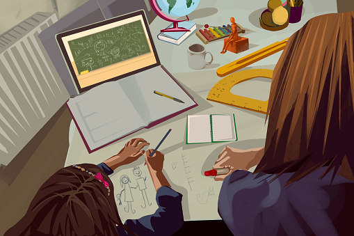 Mother helping her daughter while study at home online with teacher on