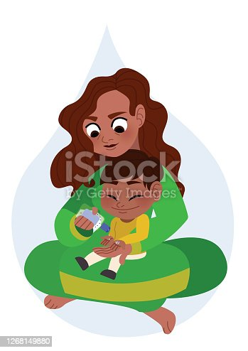 istock Mother helping her son apply hand sanitizer personal hygiene concept illustration 1268149880