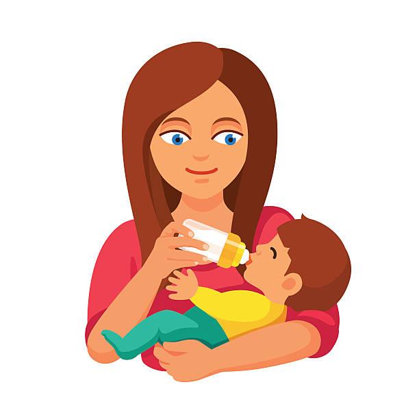 Best Mom Feeding Baby Illustrations, Royalty-Free Vector