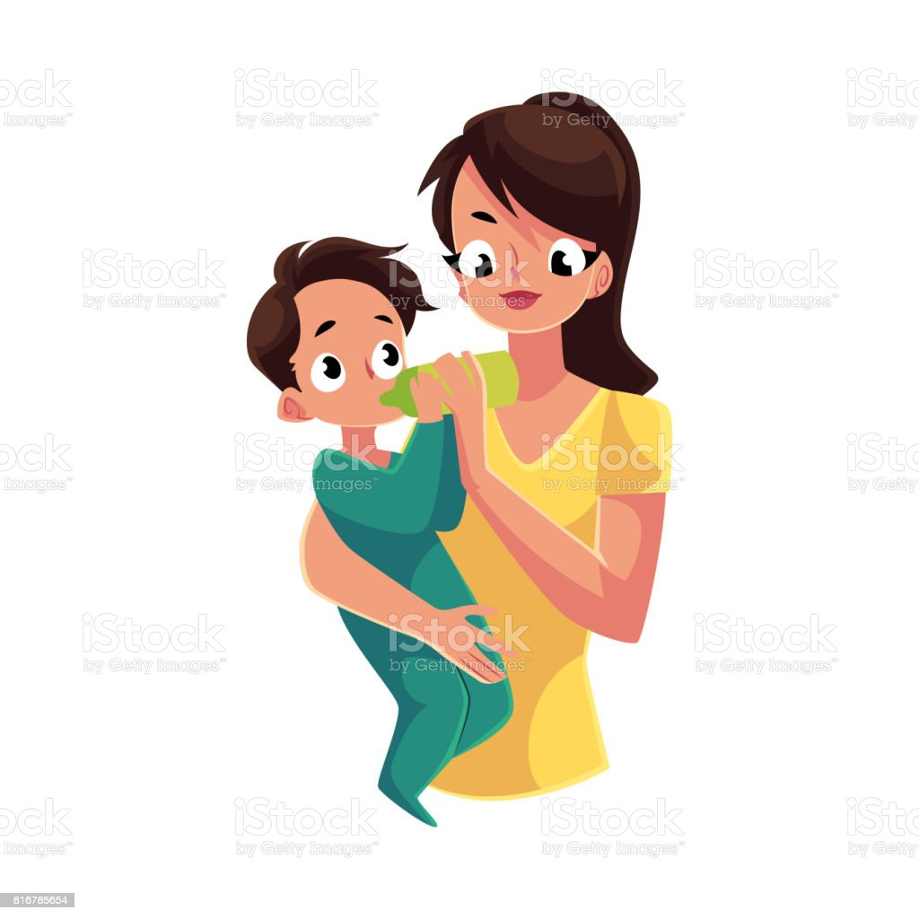 Mother holding and feeding her baby son with milk bottle vector art illustration