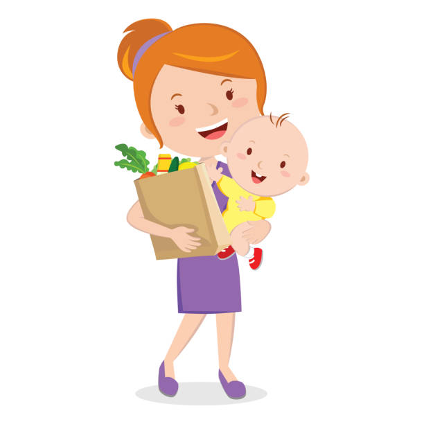 Mother holding baby and grocery shopping bag vector art illustration