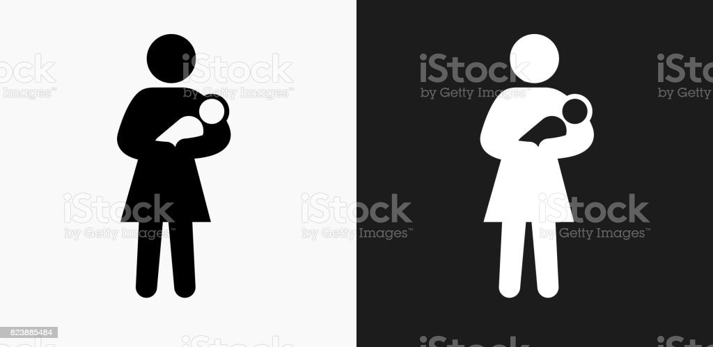 Mother Holding Baby Icon On Black And White Vector Backgrounds Stock Illustration Download Image Now Istock