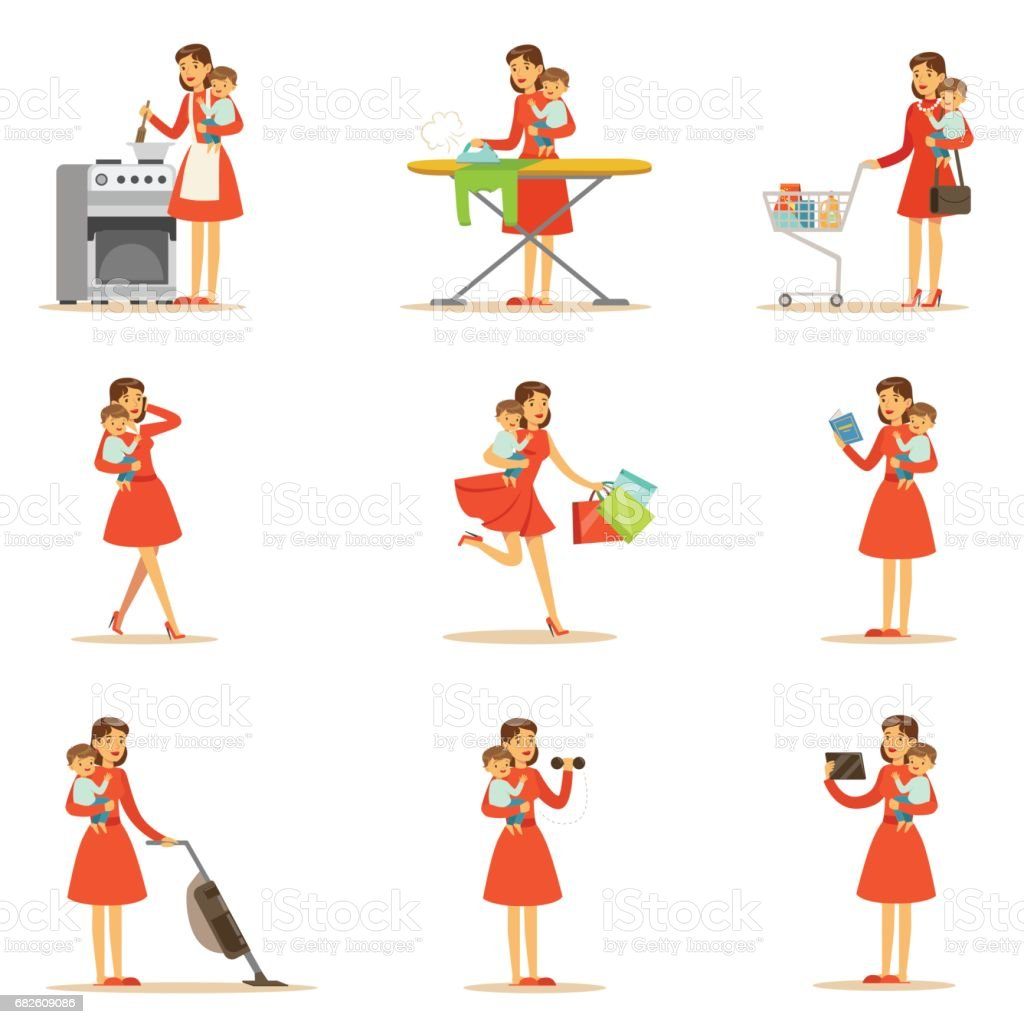 Mother Holding Baby In Arms Doing Different Activities Series Of Illustrations With Supermom And Her Duties vector art illustration