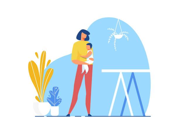 ilustrações de stock, clip art, desenhos animados e ícones de mother holding baby in hand cutout illustration - mother