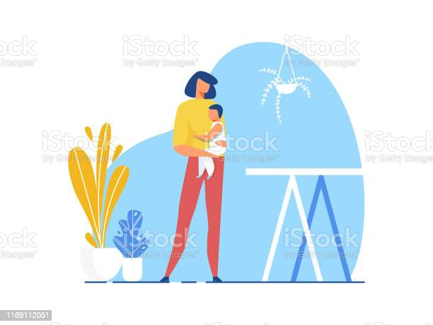 Mother Holding Baby In Hand Cutout Illustration Stock Illustration Download Image Now Istock